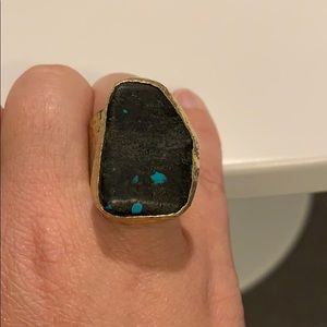 Fun statement ring( black with turquoise)